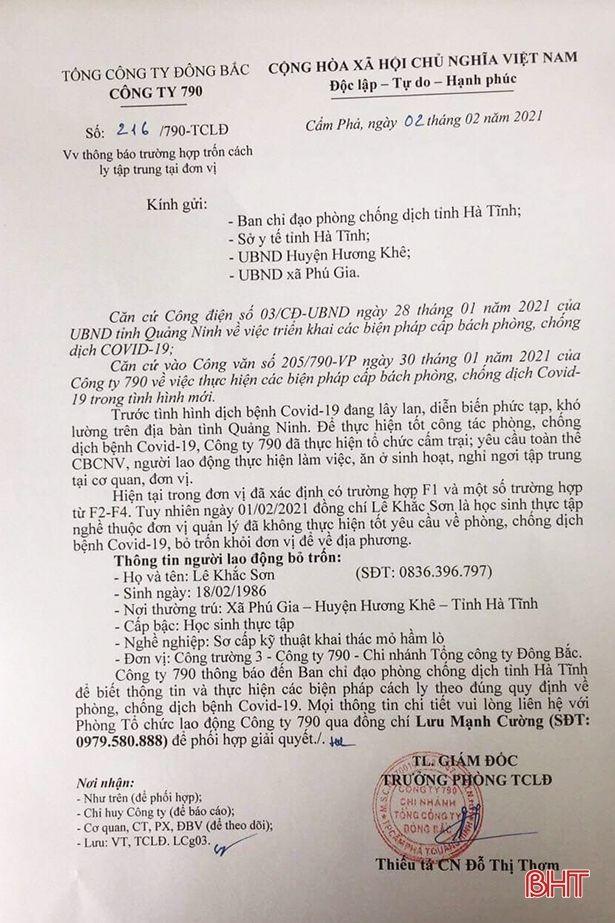 Hương Khê cách ly tập trung 1 trường hợp trốn về từ Quảng Ninh